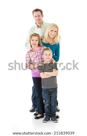 Family: Cute Nuclear Family Standing Behind Each Other