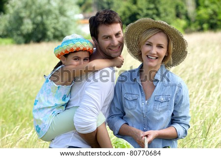 Family day out in the countryside - stock photo