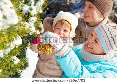 Family decorating fir tree in the park