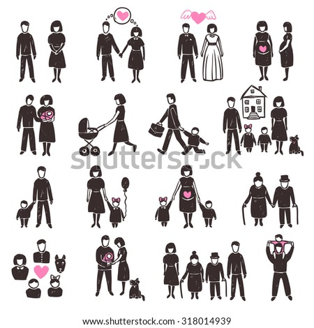 Family decorative icon set with sketch people silhouettes isolated  illustration - stock photo
