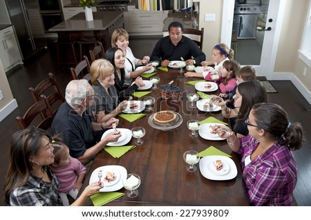 family dessert time / comes right after dinner time / let's chow down people - stock photo