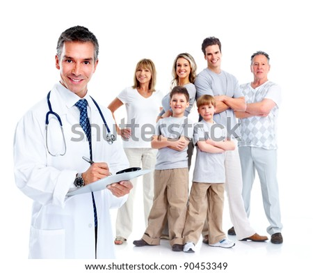 Family doctor and patients. Health care. Isolated over white background. - stock photo