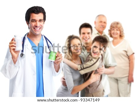 Family doctor and patients. Isolated on white background. Health care. - stock photo