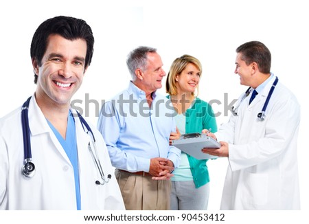 Family doctor. Health care. Isolated over white background.