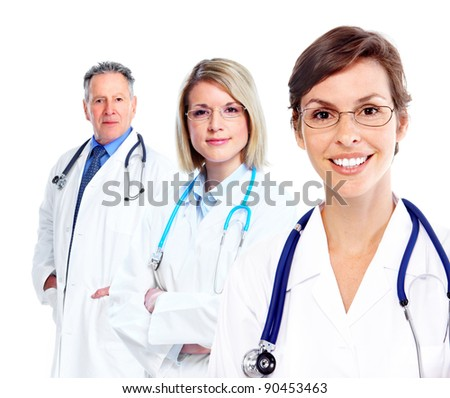 Family doctor. Health care. Isolated over white background. - stock photo