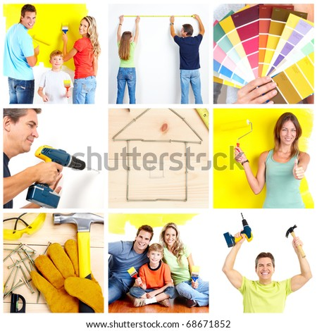 Family doing renovation at home - stock photo