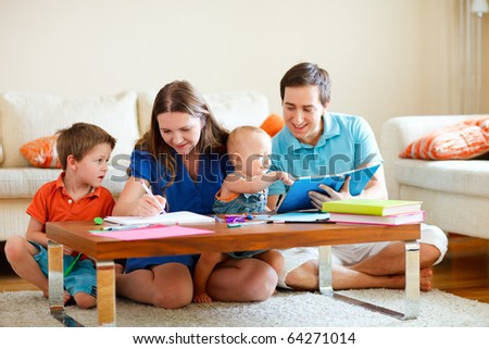 Family drawing - stock photo
