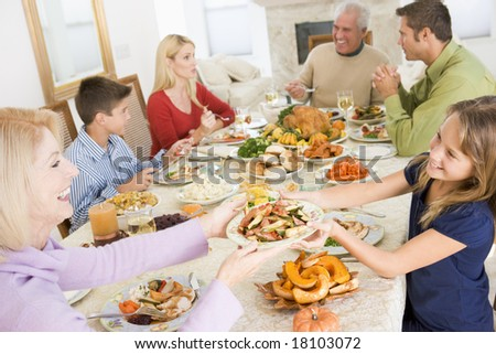family eating christmas meal
