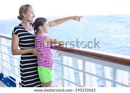 Family enjoying a cruise vacation together - stock photo