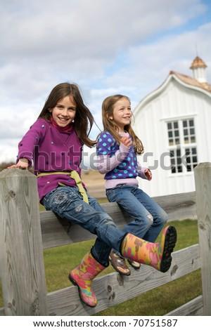 Family enjoyment on the farm - stock photo