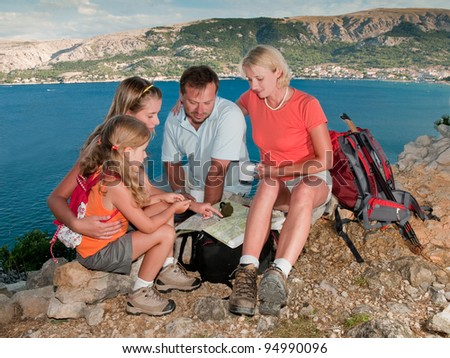 Family expedition - stock photo