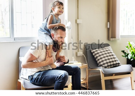 Family Father Daughter Love Parenting Piggyback Togetherness Concept - stock photo