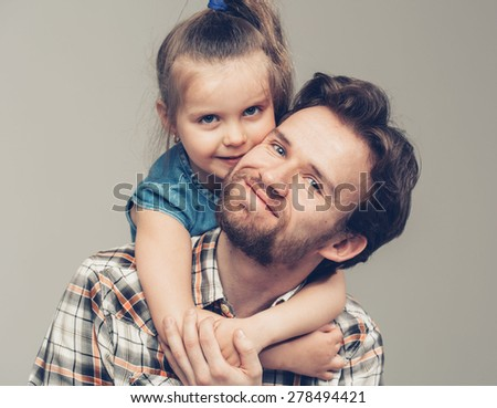 Family father with daughter portrait - stock photo