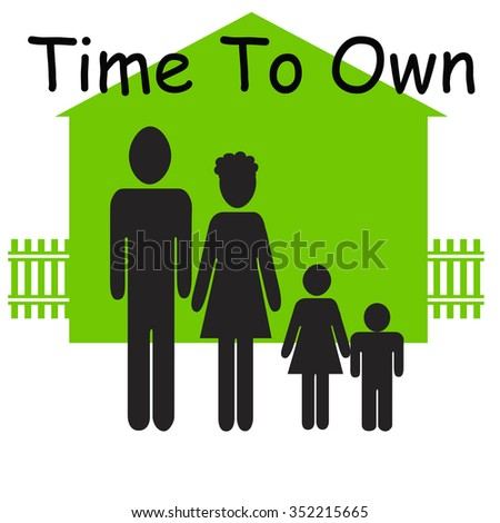 family figures and house on white background green illustration - stock photo