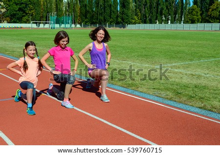 Family fitness, mother and kids training on stadium track, sport with children
