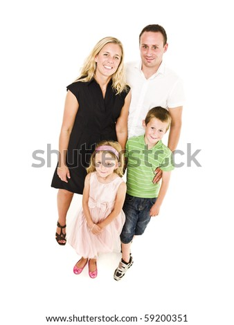 Family from above isolated on white background - stock photo