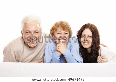 Family from three persons on a white background - stock photo