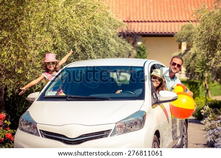 Family going on summer vacation. Car travel concept - stock photo