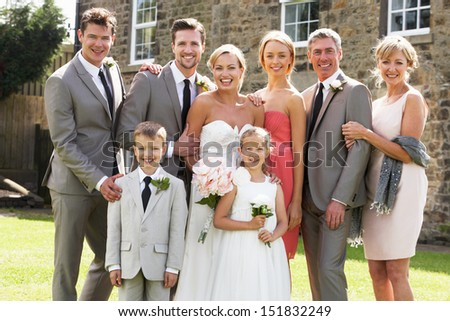 Family Group At Wedding - stock photo