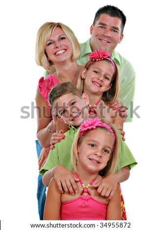 Family Group of Five Portrait on Isolated White Background - stock photo