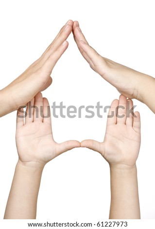 Family hands made house - stock photo