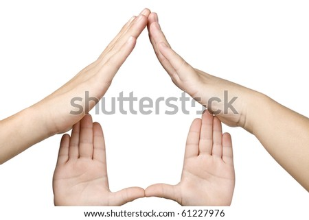 family hands made house symbol - stock photo