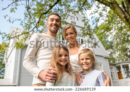 family in front of house stock images royalty free images vectors shutterstock. Black Bedroom Furniture Sets. Home Design Ideas
