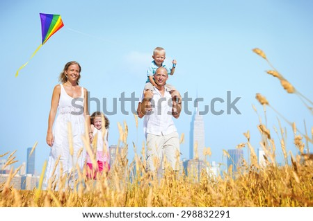Family Happiness Holiday Vacation Activity Concept - stock photo