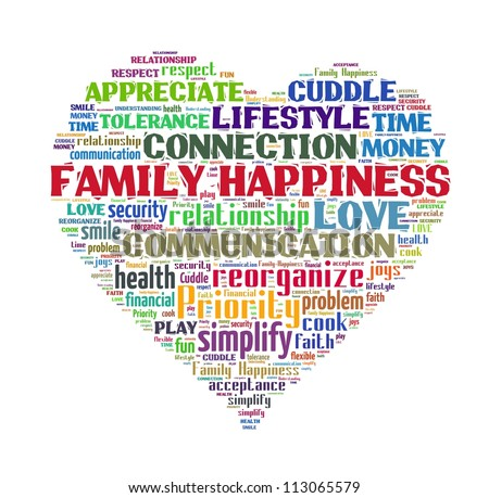 Family Happiness in word collage - stock photo