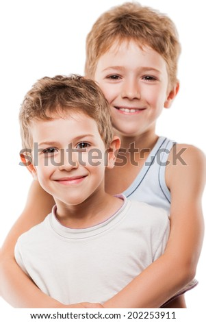 Family happiness - two little smiling child boy brothers white isolated - stock photo