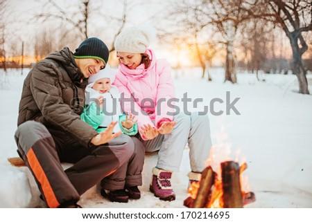 Family happy outdoors. - stock photo