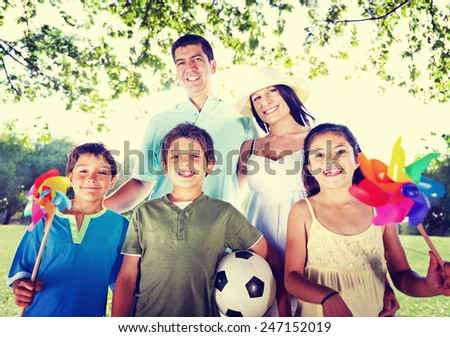 Family Happy Vacation Outdoors Relaxation Nature Concept - stock photo