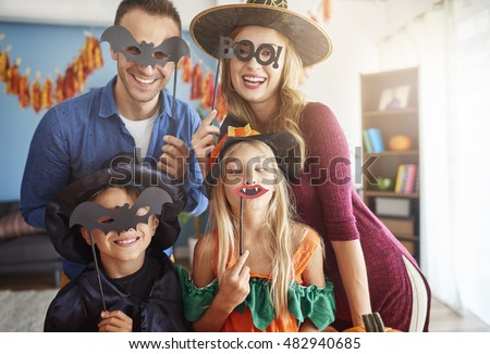 Family has fun in Halloween time