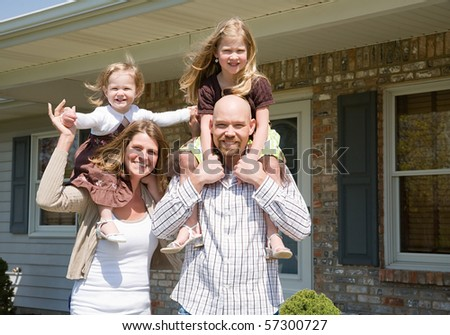 Family Having Fun at Home - stock photo