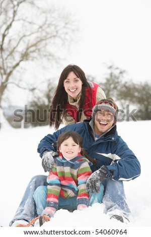 Family Having Fun In Snowy Countryside - stock photo