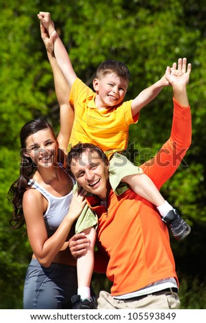 Family having fun in summer, positive emotions only