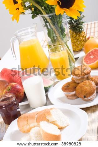 family healthy breakfast - stock photo