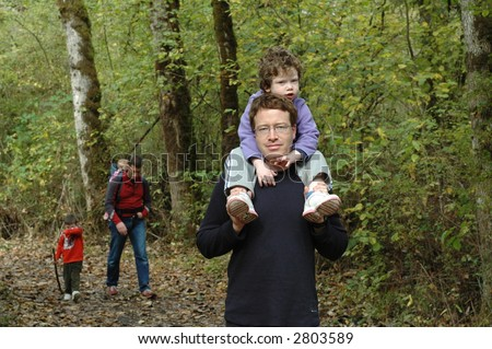 Family hike - stock photo
