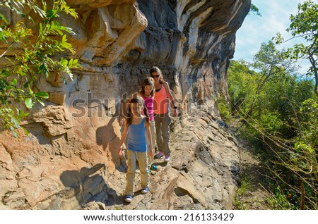 Family hiking, mother and kids on vacation  - stock photo