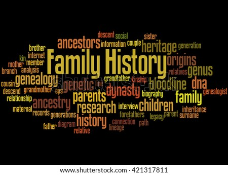 Family History, word cloud concept on black background. - stock photo