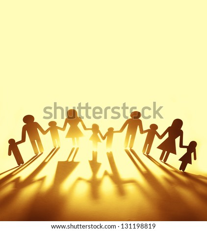 Family holding hands. Copy space - stock photo