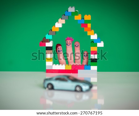 Family home and car concept - stock photo