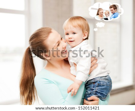 family, home and child care concept - mother with adorable baby thinking about father - stock photo