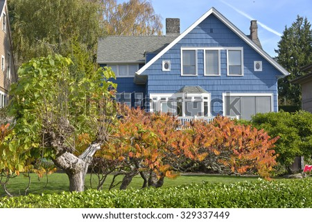 Family home in Queen's Ann district Seattle WA. - stock photo