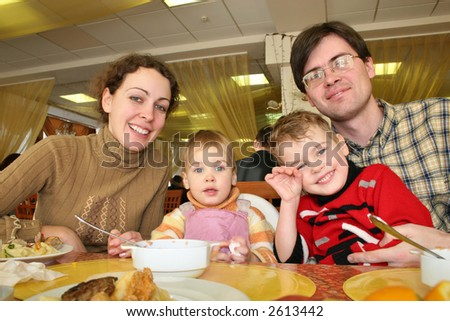 family hotel dinner - stock photo