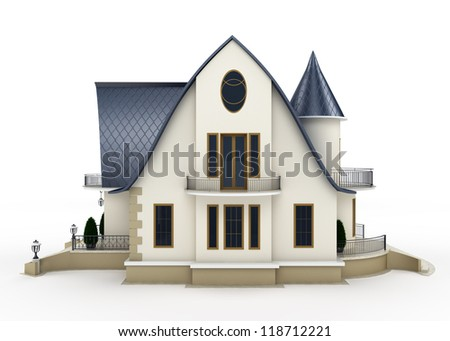 Family house model. Isolated on white background - stock photo
