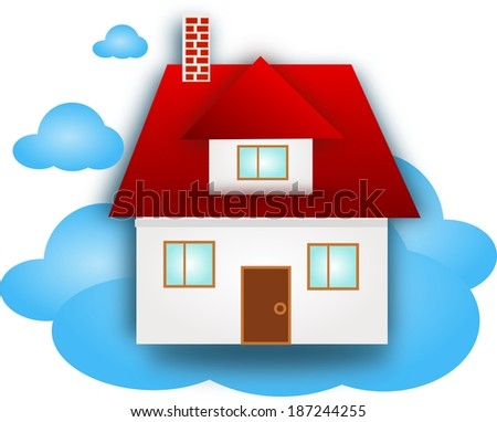 Family house on blue cloud