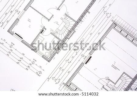 Family house plans - background - stock photo
