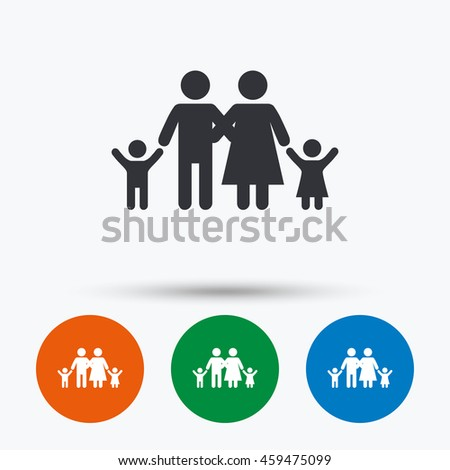 Family icon. Parents with children symbol. Family insurance. Round circle buttons with icon.