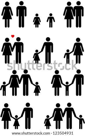 Family icons of man, woman, boy and girl in black and white graphic style. - stock photo